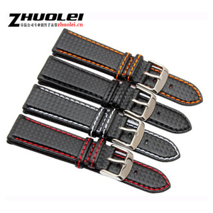 New 18mm 20mm 21mm 22mm 23mm Durable Orange Stitching carbon Fiber mens black genuine leather with silver clasp watchband strap(China)
