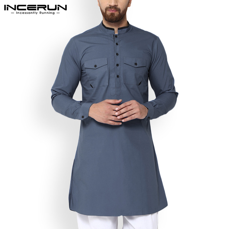 INCERUN Vintage Men Shirt Stand Collar Indian Tops Button Long Sleeve Solid Color Pockets Long Shirts Retro Muslim Clothes S-5XL