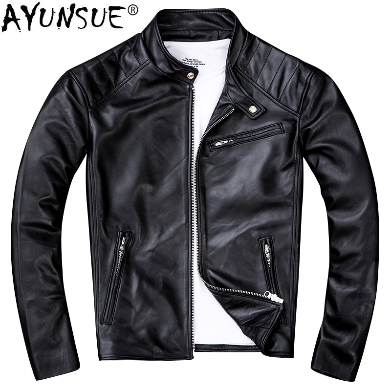 AYUNSUE Genuine Sheepskin Leather Jacket Men Clothes 2020 New Real Leather Motorcycle Jackets Vintage Jaqueta De Couro ZL405
