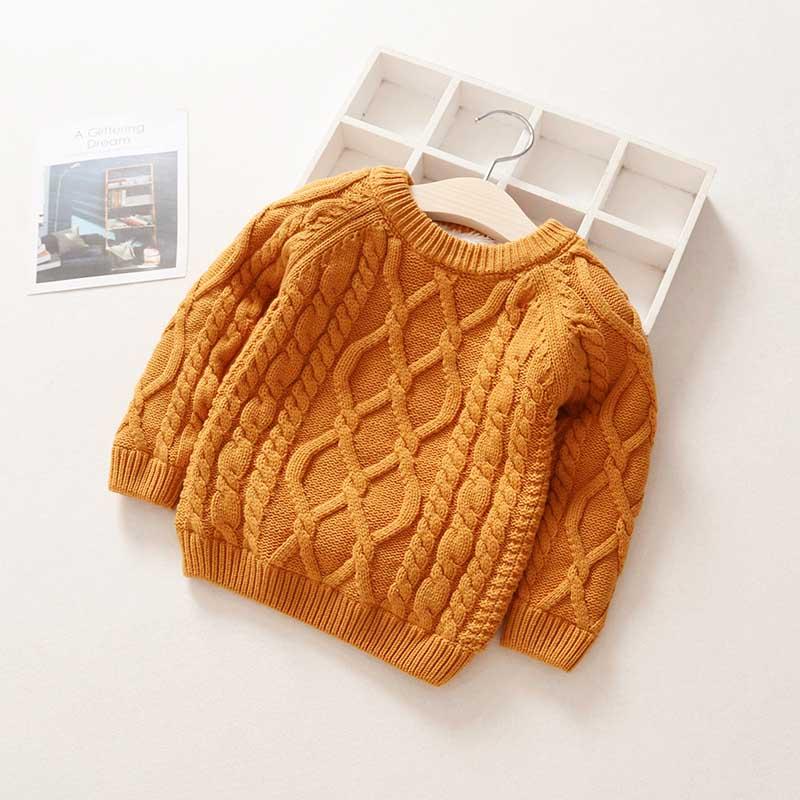 Kids Boys Girls Sweater Autumn Long Sleeve Knitwear Tops Clothes 2021 Winter Thick Warm Kids Add Wool Baby Boy Girls Sweater 5