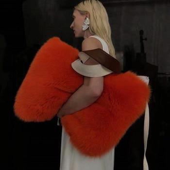 Luxury Faux Fur Women Shoulder Bags Designer Large Capacity Plush Women's Handbags Pu Leather Patchwork Lady Clutches Tote Purse