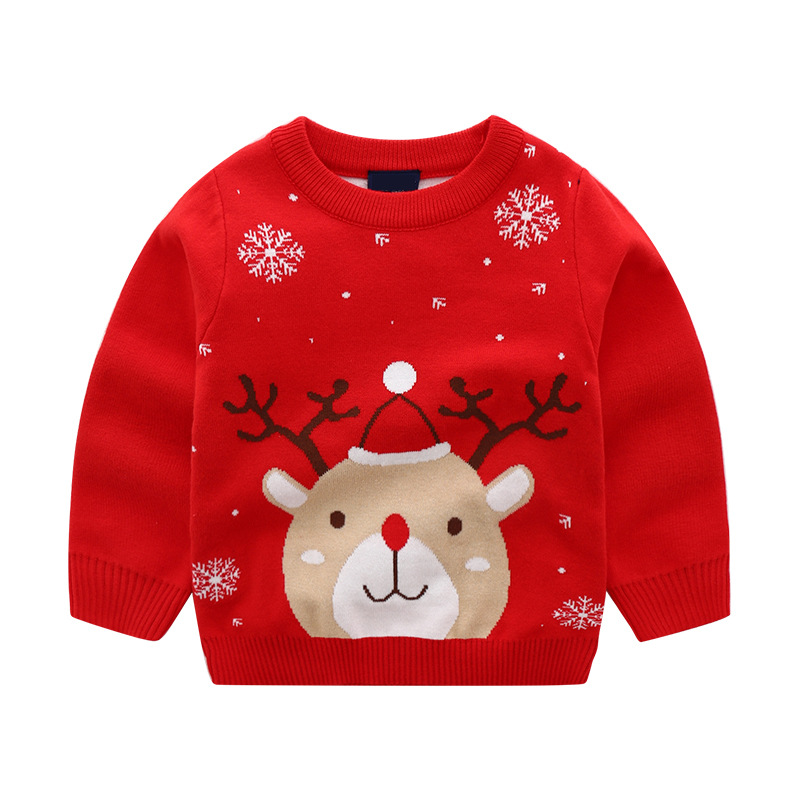 New Toddler Girls Sweaters Autumn Winter Boys Girls Pullover Warm Sweater Cotton Christmas Clothes for Kids 2-7 Years Old