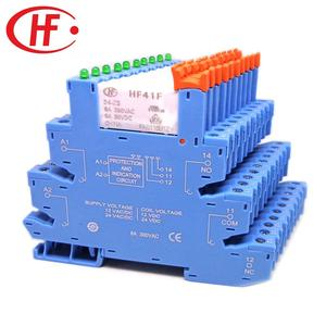 Image 2 - 5pcs HF41F 24 ZS 12 ZS 5V 12V 24V 6A 1CO Slim Relay Mount On Screw Socket with LED and Protection Circuit 24VDC/AC Wafer relay