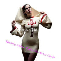 Sexy Latex Rubber Nun Cosplay Costumes women costumes sexy Dress with hat plus size costume