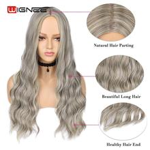 Wignee Ombre Ash Grey Hair Middle Part Long Wave Heat Resistant Synthetic Wigs For Black Women American Natural Fiber Hair Wigs