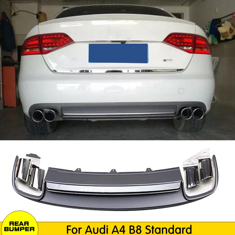 Rear Diffuser Lip Bumper Strip Spoiler Silver Fit for Audi A4 B8 Non-Sline 09-12
