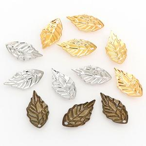 100Pieces/Lot Gold/Metal Charms Stamping Leaf Earring Charms Pendants DIY Floating Charms for Jewelry Making 10*19mm