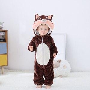 Image 3 - Newborn Baby Onesie Romper Cute Squirrel Baby Girl Boys Clothes Kigurumis Rompers Kid Infant Jumpsuit Warm Costume 0 2 years old