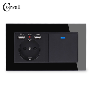 Image 3 - COSWALL Russia Spain EU Standard Wall Socket 2 USB Charge Port + 1 Gang 1 Way On / Off Light Switch LED Indicator Glass Panel