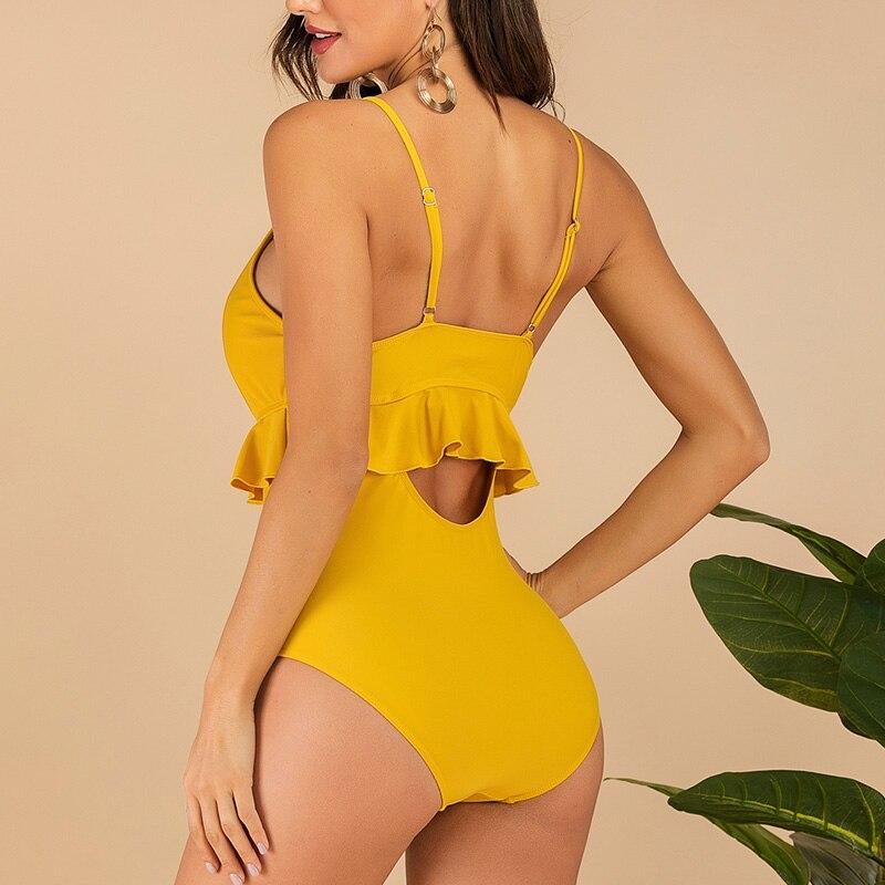 Image 3 - Riseado V neck Bodysuit Sexy Ruffle Swimwear Women Solid Swimsuit One Piece 2020 New Strap Bathing Suit U back Beach Wear    -