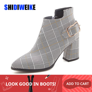 Image 1 - 2020 Large Size Women Boots Fashion Plaid Pointed Toe High Heels Womens Shoes Sexy Autumn Winter Ankle Boots female n245