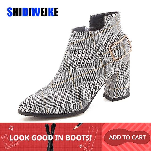 2020 Size Lớn Giày Bốt Nữ Kẻ Sọc Thời Trang Chỉ Giày Cao Gót Giày Nữ Gợi Cảm Thu Đông Cổ Chân Giày Nữ n245