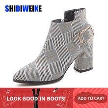 2020 duże rozmiary buty damskie moda Plaid Pointed Toe wysokie obcasy buty damskie Sexy jesień zima botki kobieta n245