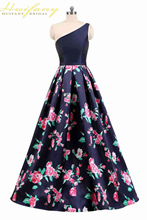 New Elegant Floral Print One-shoulder Evening Dress Sleeveless Formal Party Dress 2019 Women Backless Lace-up Occasion Gown black one shoulder backless lace up details sweater dress