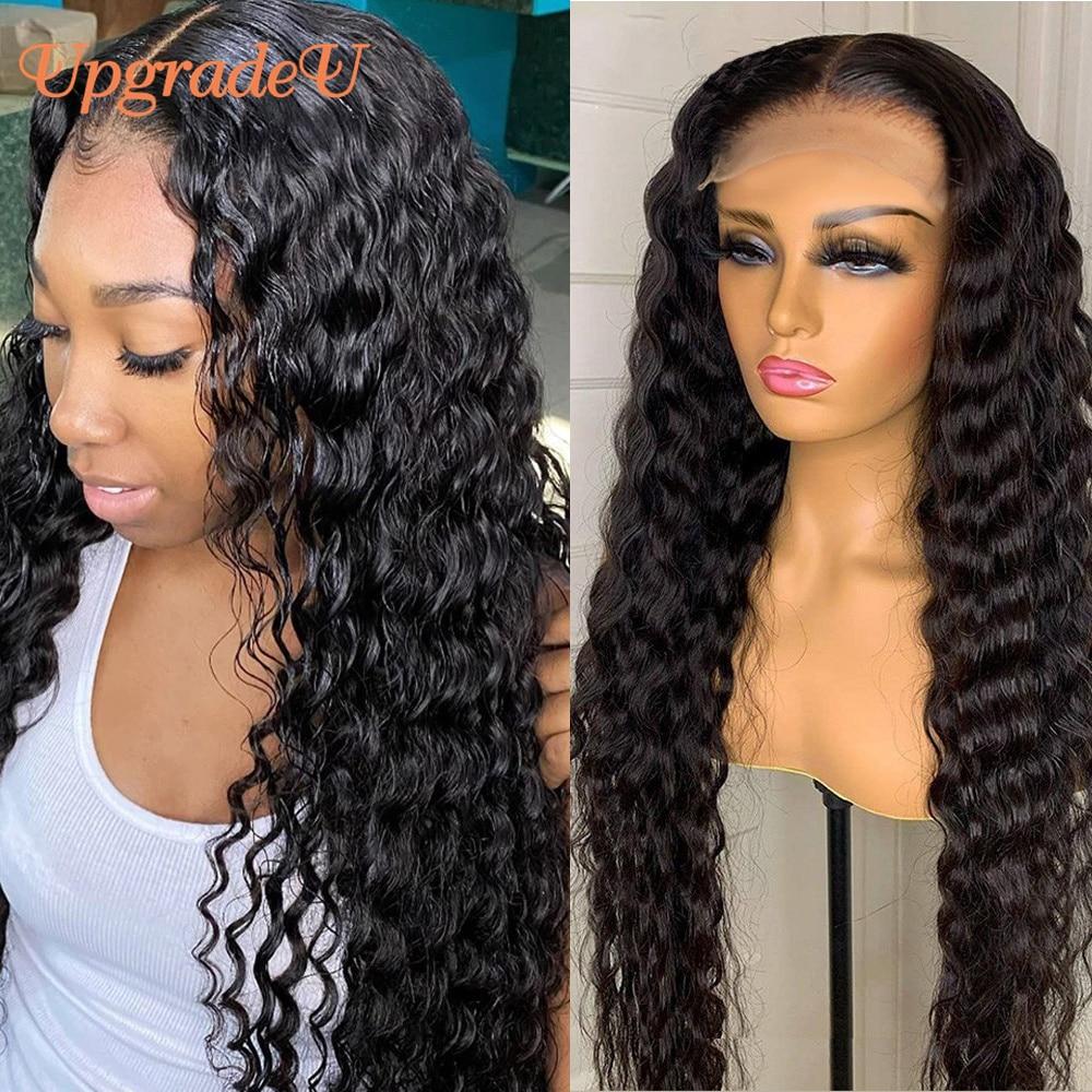 UpgradeU Malaysian Deep Wave Human Hair Wig 180 Density Deep Curly Lace Closure Wig Prepluck Curly Lace Front Human Hair Wigs