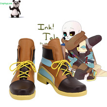 Brown Shoes Undertale Long-Boots Custom-Made Cosplay for Halloween Christmas Inksans