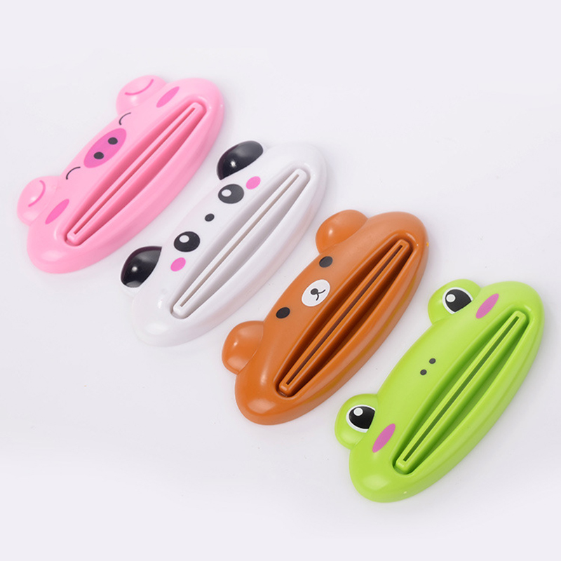 Animal easy toothpaste dispenser plastic toothpaste tube squeezer useful household bathroom toothpaste roll stand