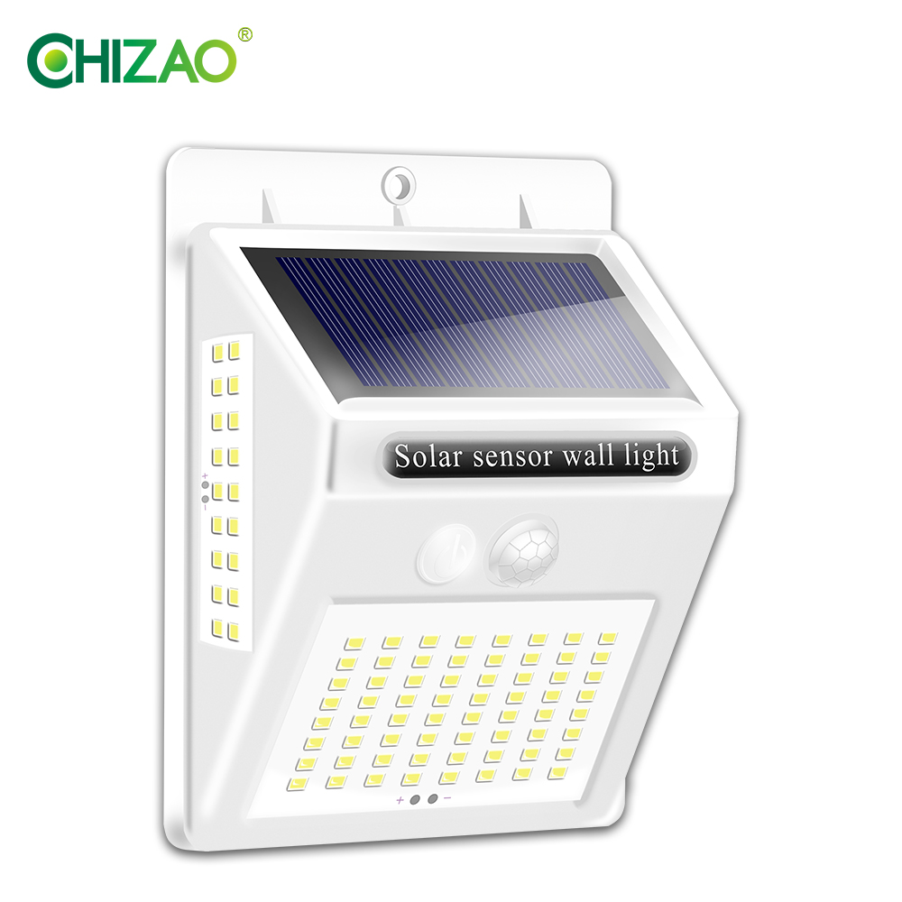 CHIZAO White Case 20LED 100LED Solar Lamp Outdoor Lighting For Front Door Courtyard Fence Garage Night Light Decoration Outdoor