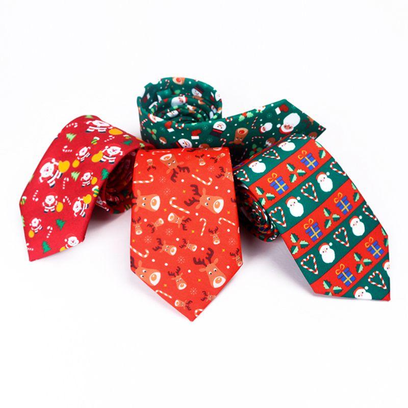 THINKTHENDO Men Christmas Neckties Novelty Cute Xmas Tree Printed Holiday Party Fun Ties