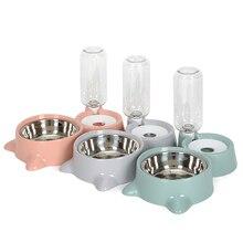 Cat Bowl Dog Water Feeder Pet Stainless Steel Food Dispenser Bottle Dual-use Safe