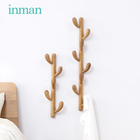 Solid wood clothes and hats rack Hall wall hanger wooden hanger rack on simple wall in bedroom furniture coat rack coat stand