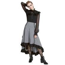 Belle Poque Retro Women Vintage Stripe Gathered Steampunk Gothic Punk Bustle Irregular high low Skirt Fashion midi Skirt Elastic