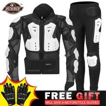 לבן אופנוע מעיל קיץ מוטוקרוס מעיל + מכנסיים Moto גוף שריון מוטוקרוס מרוצי Motorbiker אופנוע הגנה
