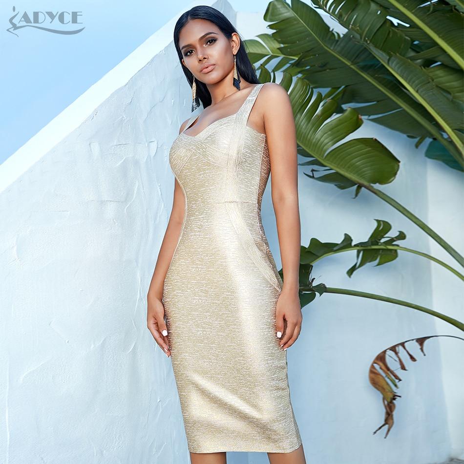 Image 2 - Adyce 2020 New Summer Women Bodycon Bandage Dress Vestidos Gold  Spaghetti Strap Club Dress Elegant Celebrity Runway Party DressDresses