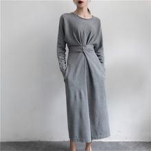 Винтажное трикотажное платье для женщин простое однотонное с