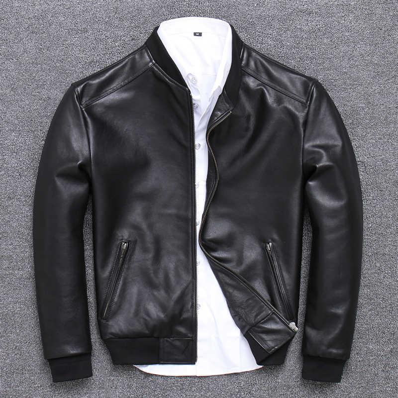 Jaqueta de couro real dos homens roupas 2019 streetwear moda dos homens pele carneiro casaco curto fino ajuste 5xl casacos couro genuíno u352
