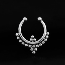 Old Indian Style Round Shape Anti Allergy Stainless Steel Woman Fake Nose Ring Sexy Piercing Body Jewelry For Lady Gift