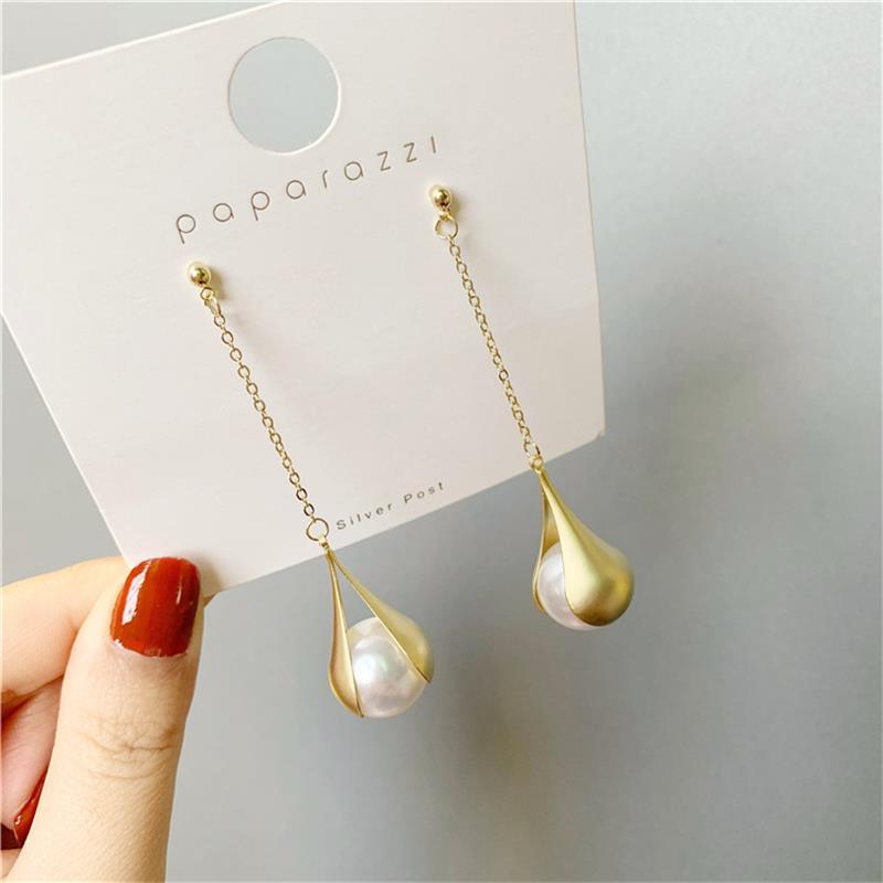 Character Long Water Droplets Show Thin Face Earrings Fashion Temperament Girl Pearl Earrings Niche Senior Stud Earrings