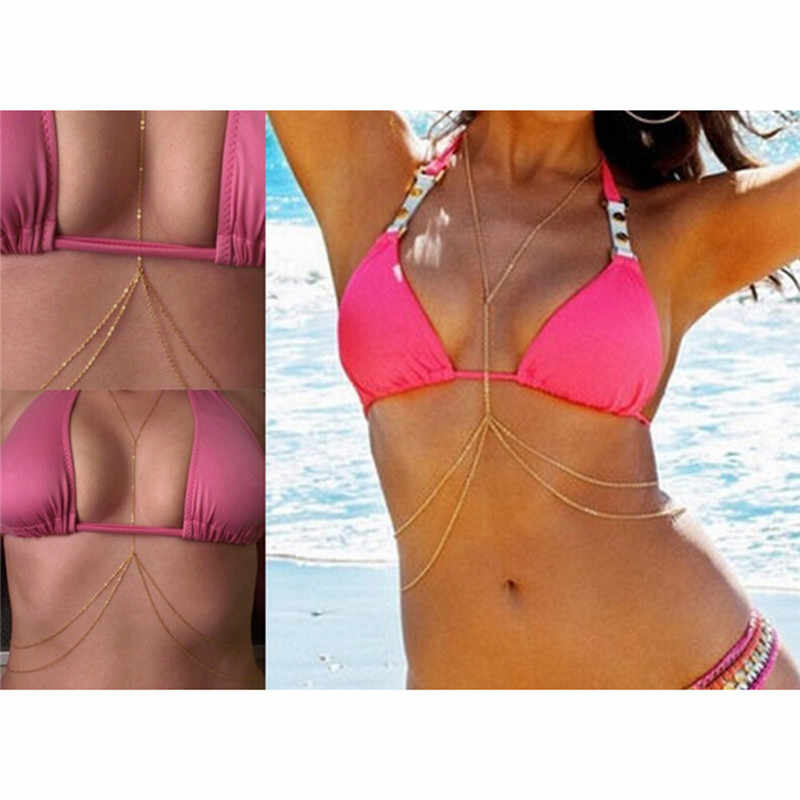 סקסי חוף ביקיני אופנה גוף שרשרת נשים גוף שרשרת שכבה כפולה שרשרת מותניים זהב כסף צבע גוף תכשיטי גוף