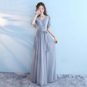 Image 3 - New 6 Style Pink Blush Dress For Women Sexy Chiffon Bridesmaid Dresses Backless Wedding Party Dress Long Gala Gowns Elegant Gray