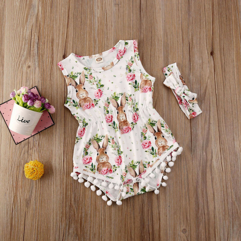 Newborn Baby Girls Easter Rabbit Romper Bodysuit Jumpsuit Headband Outfits Sets