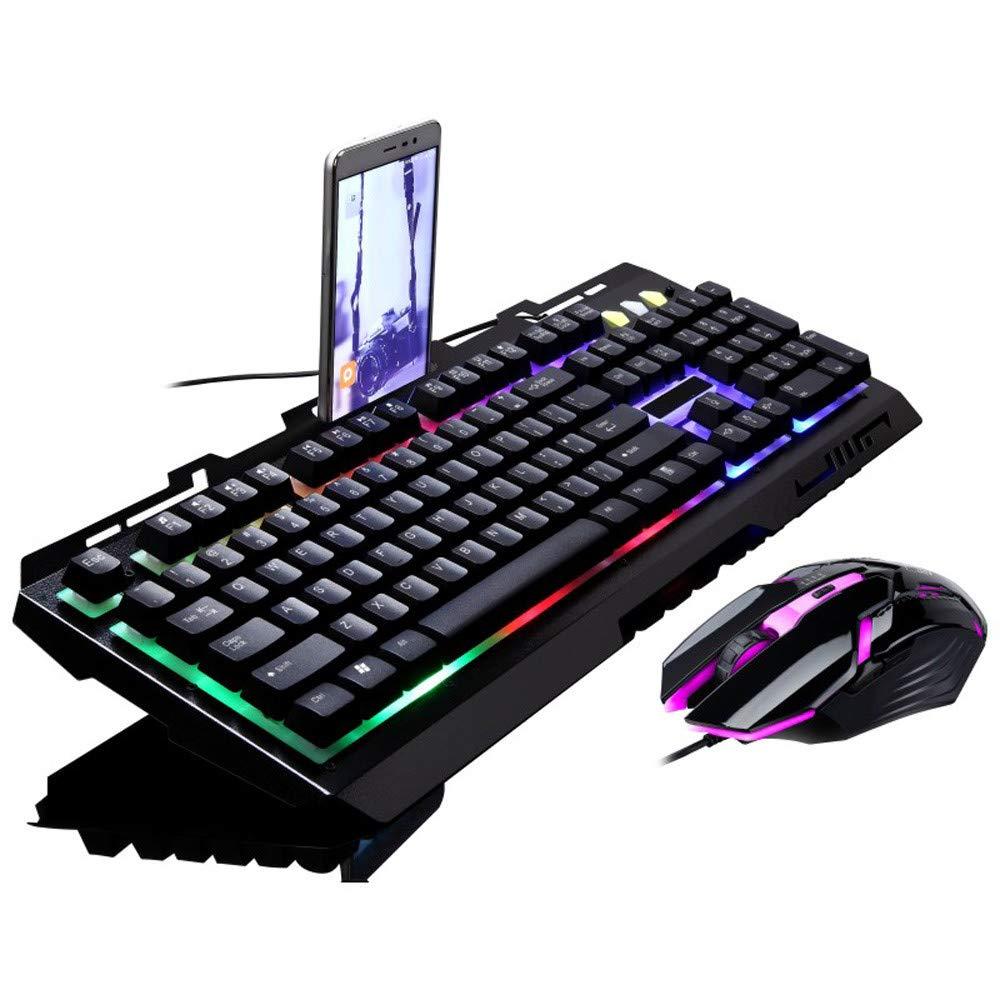 Mecânico do Jogo e Rato Teclas com Fio Jogo do Rato do Teclado para o Jogador de Computador Teclado Combinação Ergonômico Led Backlit G700 104