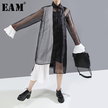 [EAM] Women Black Contrast Color Organza Pleated Shirt Dress New Laepl Long Slee