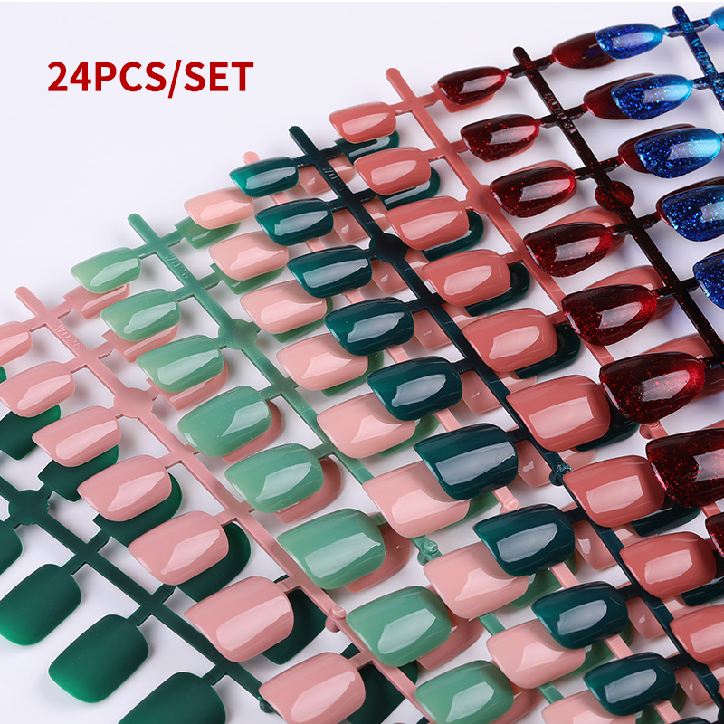 24pcs/set Reusable False Nail Artificial Tips Full Cover For Decoration Stiletto Design Press On Nails Art Fake Extension Tips