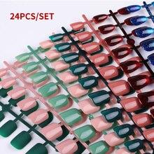 24 unids/set reutilizable uñas falsas puntas artificiales cubierta completa para decoración diseño de estilete Prensa en uñas falsas puntas de extensión de arte