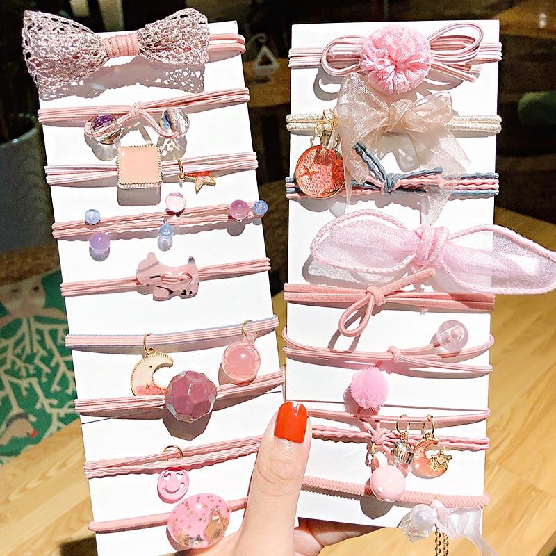 9pcs/Set New Women Girls Cute Bow Geometric Elastic Hair Bands Sweet Scrunchie Rubber Bands Headband Fashion Hair Accessories