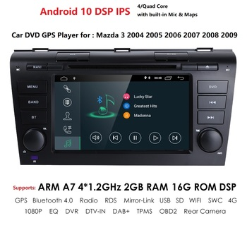 2 Din Auto Stereo Auto DVD Player Android 10 OS 7 inch Capacitive Touchscreen Support Mirror Link Bluetooth Mazda 3 2004-2009 PC