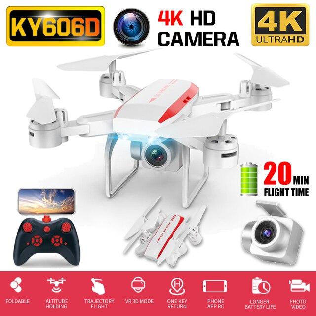 "RC Quadcopter KY606D Drone 4K HD מצלמה WIFI FPV גובה מחזיק מתקפל Selfie ""טים מקצועי 20 דקות זמן טיסה"