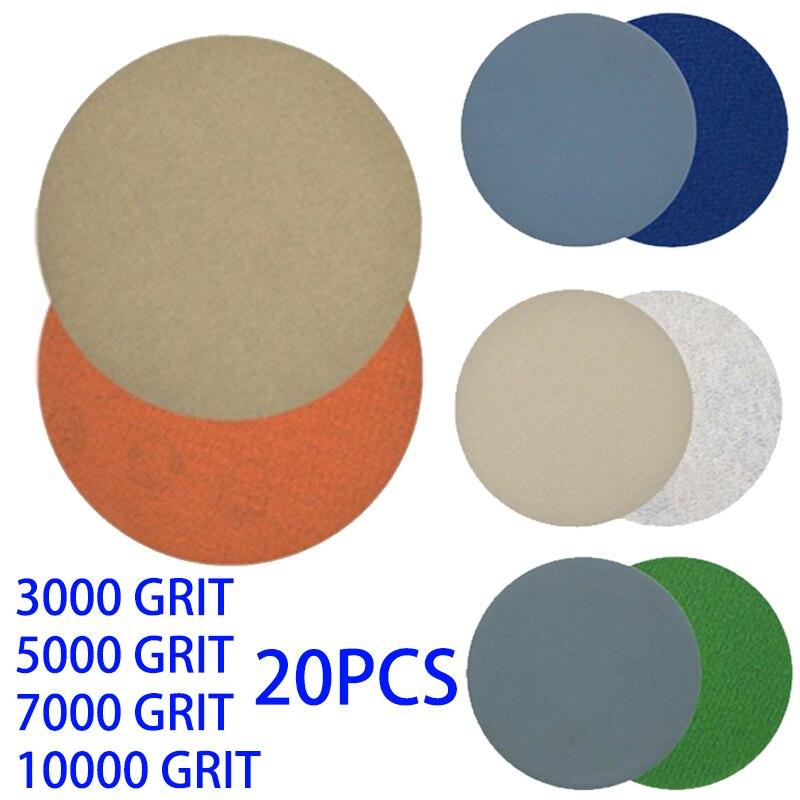 20pcs 3 Inch Sanding Discs Pad Kit Round Sand Paper Hook Loop 3000-10000 Grit