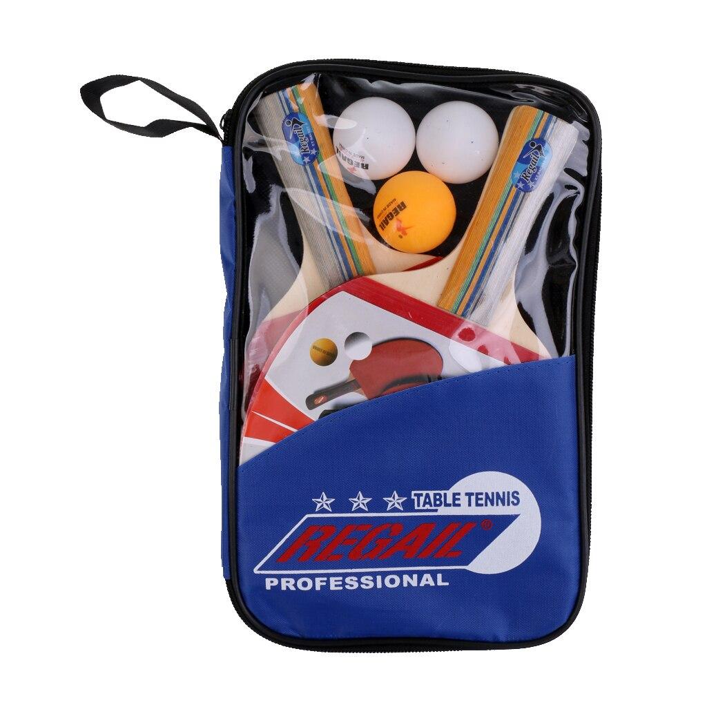 2pcs Long Handle Ping Pong Table Tennis Bats Paddles Rackets + Balls & Cover