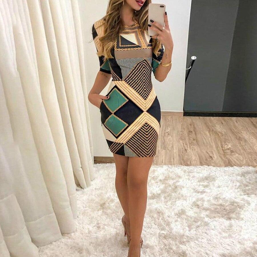 Nowa elegancka sukienka modny nadruk z krótkimi rękawami szczupła sukienka z okrągłym dekoltem damska wiosenna i jesienna Mini sukienka