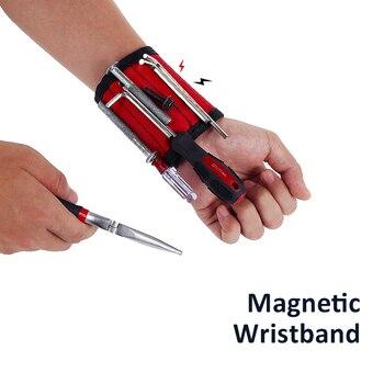 Nueva pulsera magnética de poliéster, bolsa de herramientas portátil para electricista, muñequera, herramienta de reparación de tornillos para coche, Kit de reparación de automóviles