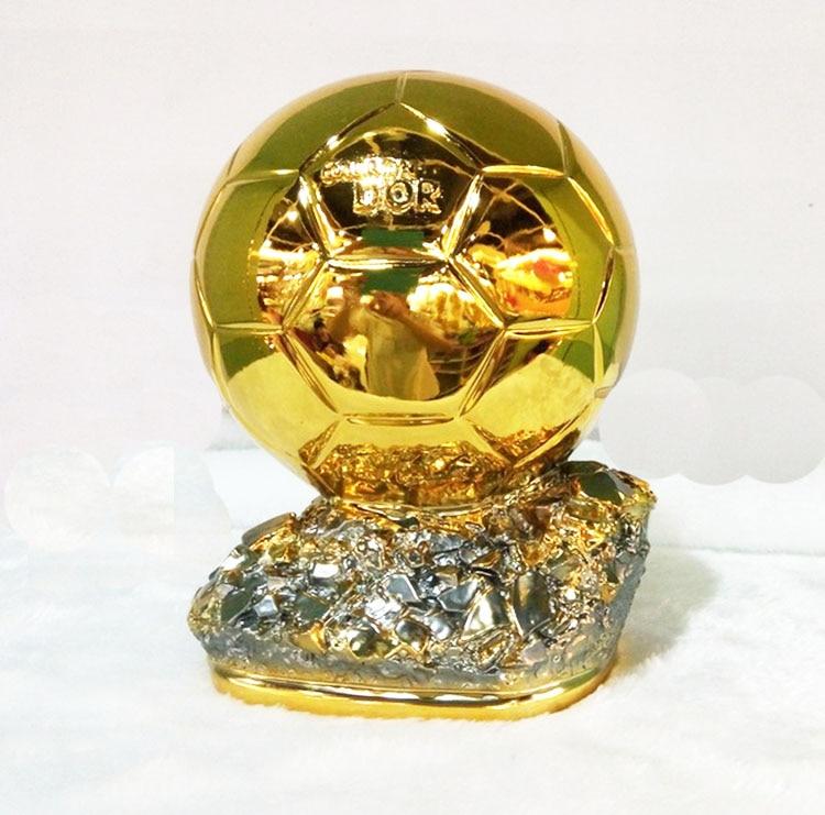 19cm Middle  Size  Ballon DoR Trophy  Golden Ball  Trophy Final Shooter Players Electroplated Golden Ball Cup  Award