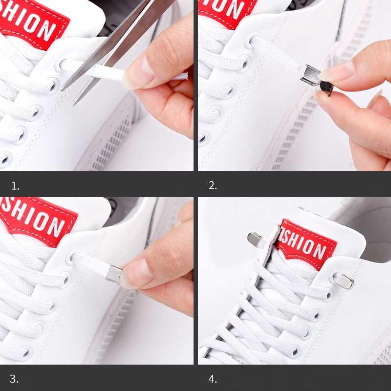 1 çift hiçbir kravat ayakkabı bağcıkları elastik ayakabı açık eğlence Sneakers hızlı güvenlik düz ayakkabı bağı çocuklar ve yetişkin Unisex tembel dantel