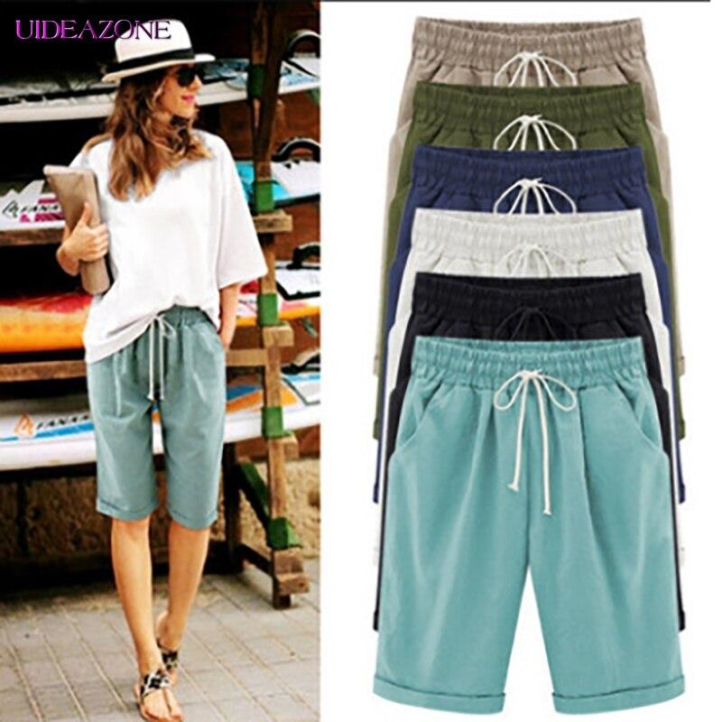 Solid Women Summer Elastic Waist Knee Half Length Pants Casual Loose Fashion Highstreet Drawstring Female Spring Plus Size 8XL