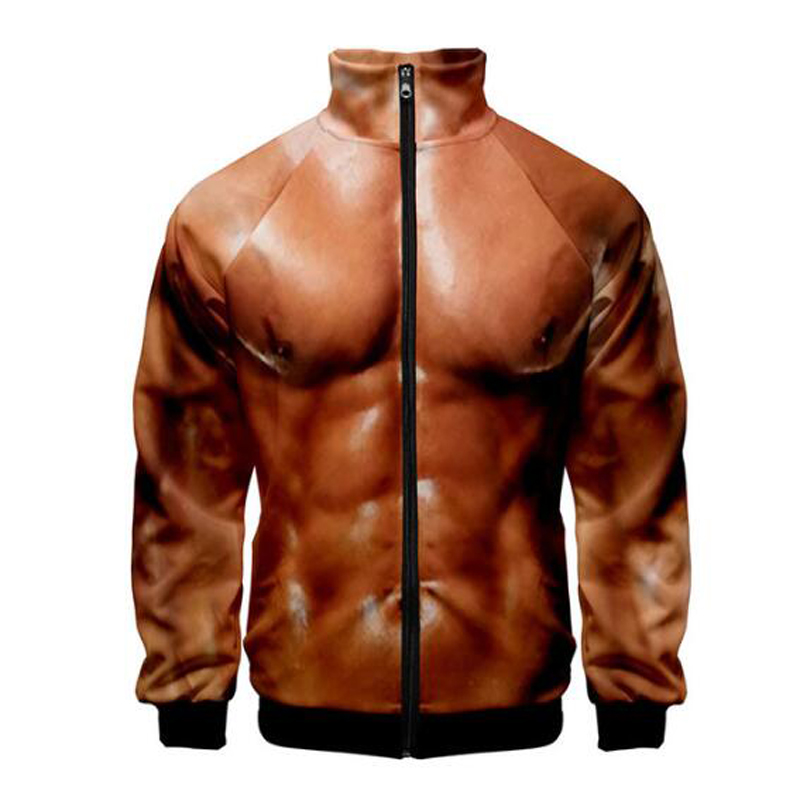 Funny Men Pullover 3D Tops Hoodie Casual Faux Leather Coat Zipper Jacket Black
